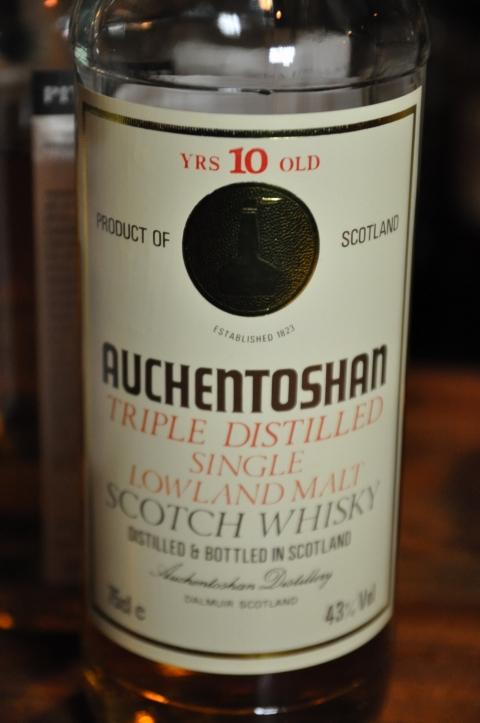 オーヘントッシャン Auchentoshan 10yo (43%, OB, White label, gold medallion, 1980's)  75CL