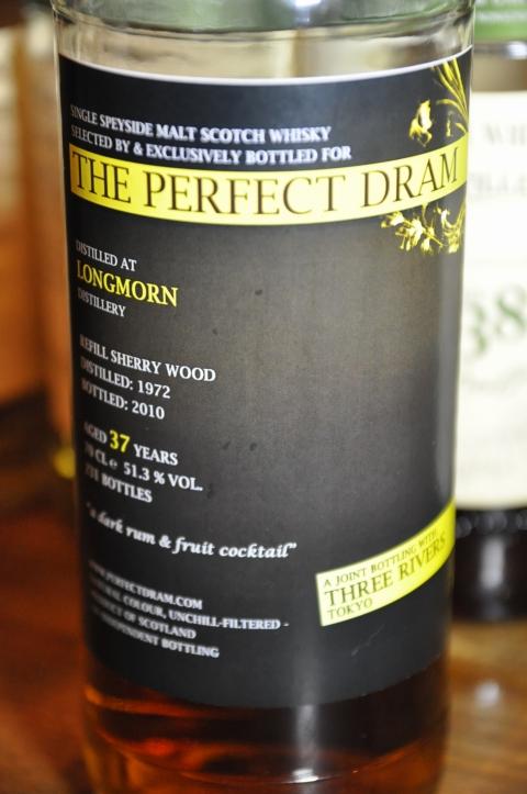 """ロングモーン Longmorn 37yo 1972/2010 (51.3%, The Whisky Agency, """"Perfect Dram"""",231Bts) Rifill Sherry Wood, a dark rum & fruit cocktail"""