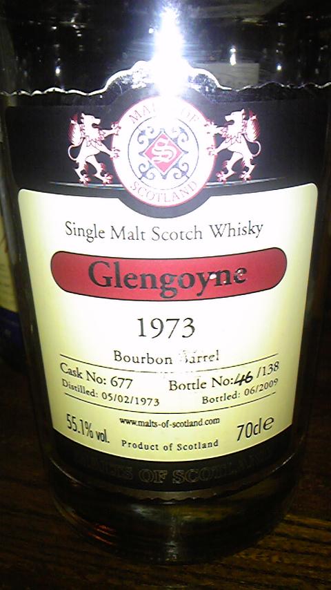 グレンゴイン Glengoyne 1973/2009  (55.1%, Malts of Scotland, Bourbon cask #677, 138 Bts.)