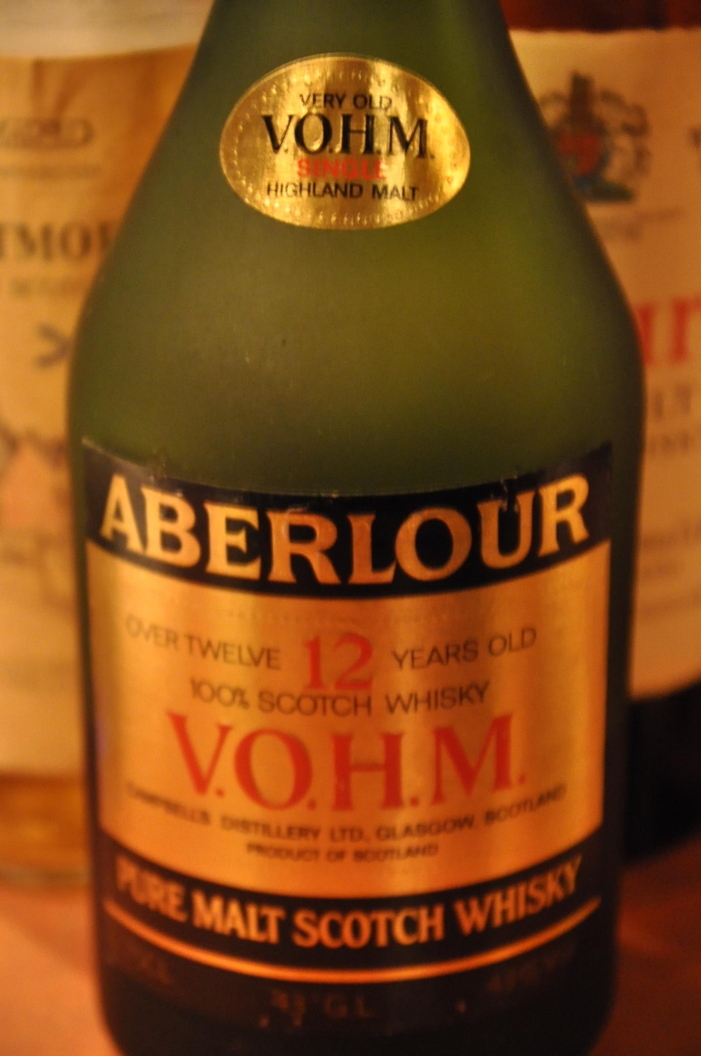 アベラワー Aberlour 12 yo 'VOHM' (43%, OB, Cognac-shaped bottle, 80's)