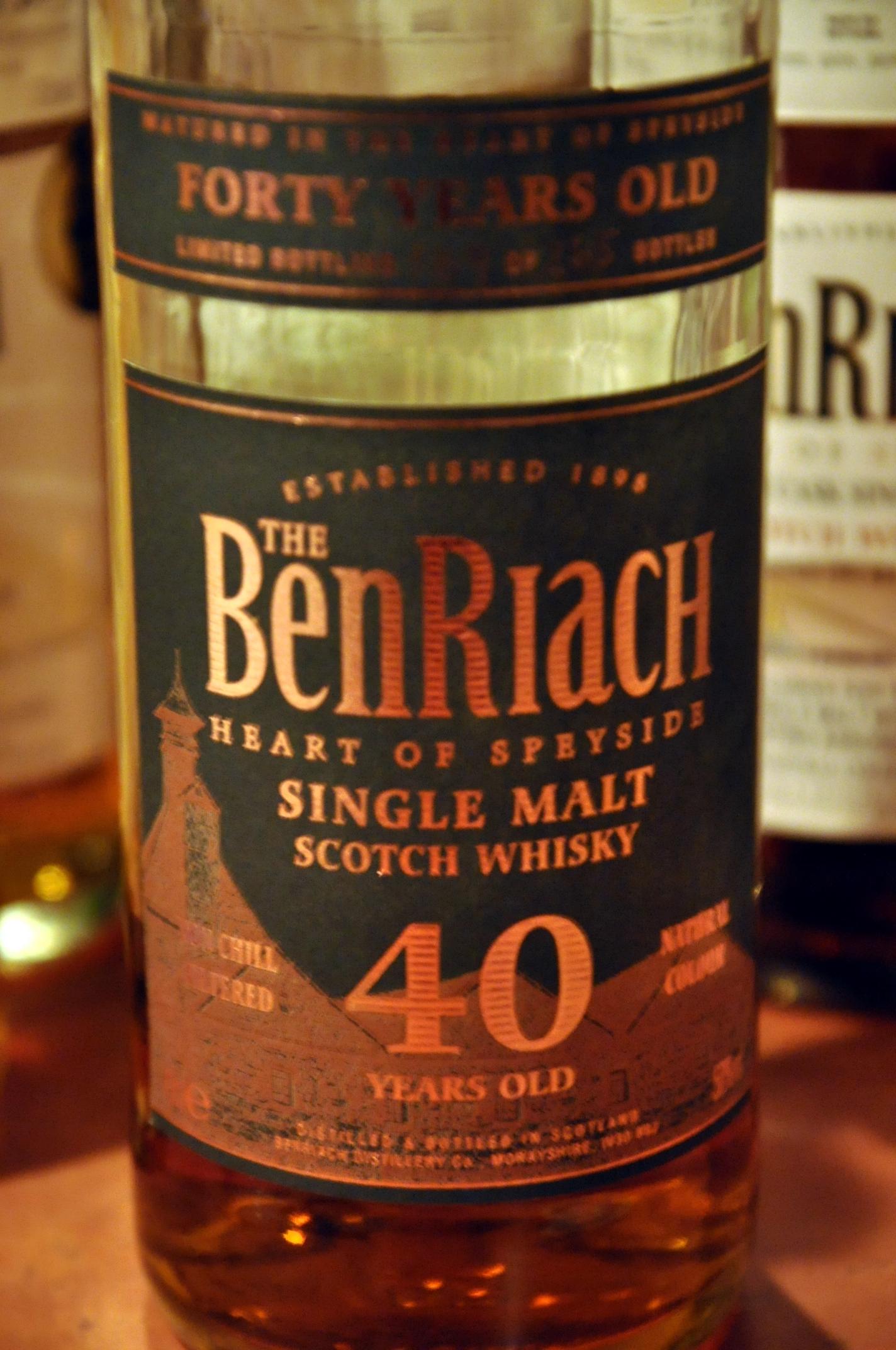ベンリアック Benriach 40yo (50%, OB, 265 Bts, 2007)
