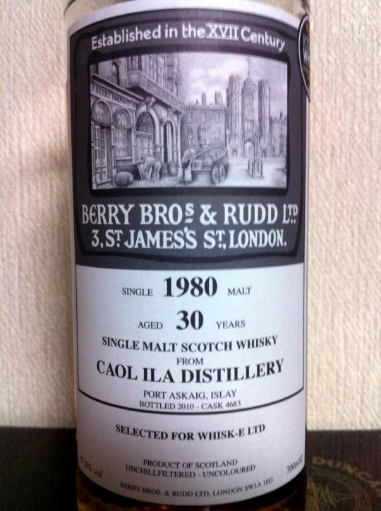 カリラ Caol Ila 30yo 1980/2010 (57.6%, Berry Bros & Rudd for WHISK-E, C#4683)