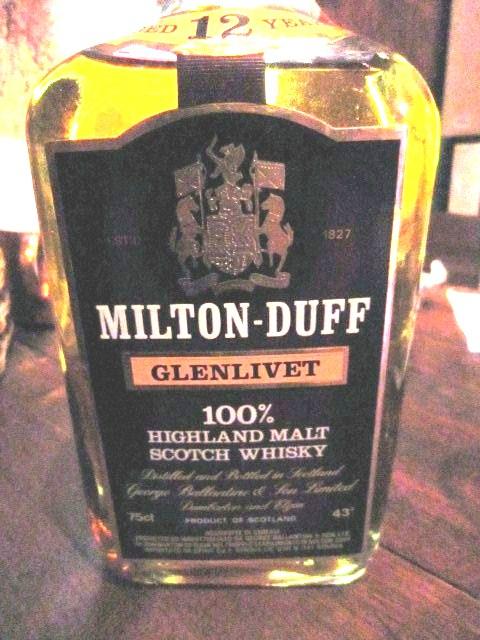 ミルトンダフ Milton-Duff-Glenlivet 12yo (43%, OB, Square bottle, Italy) c1980