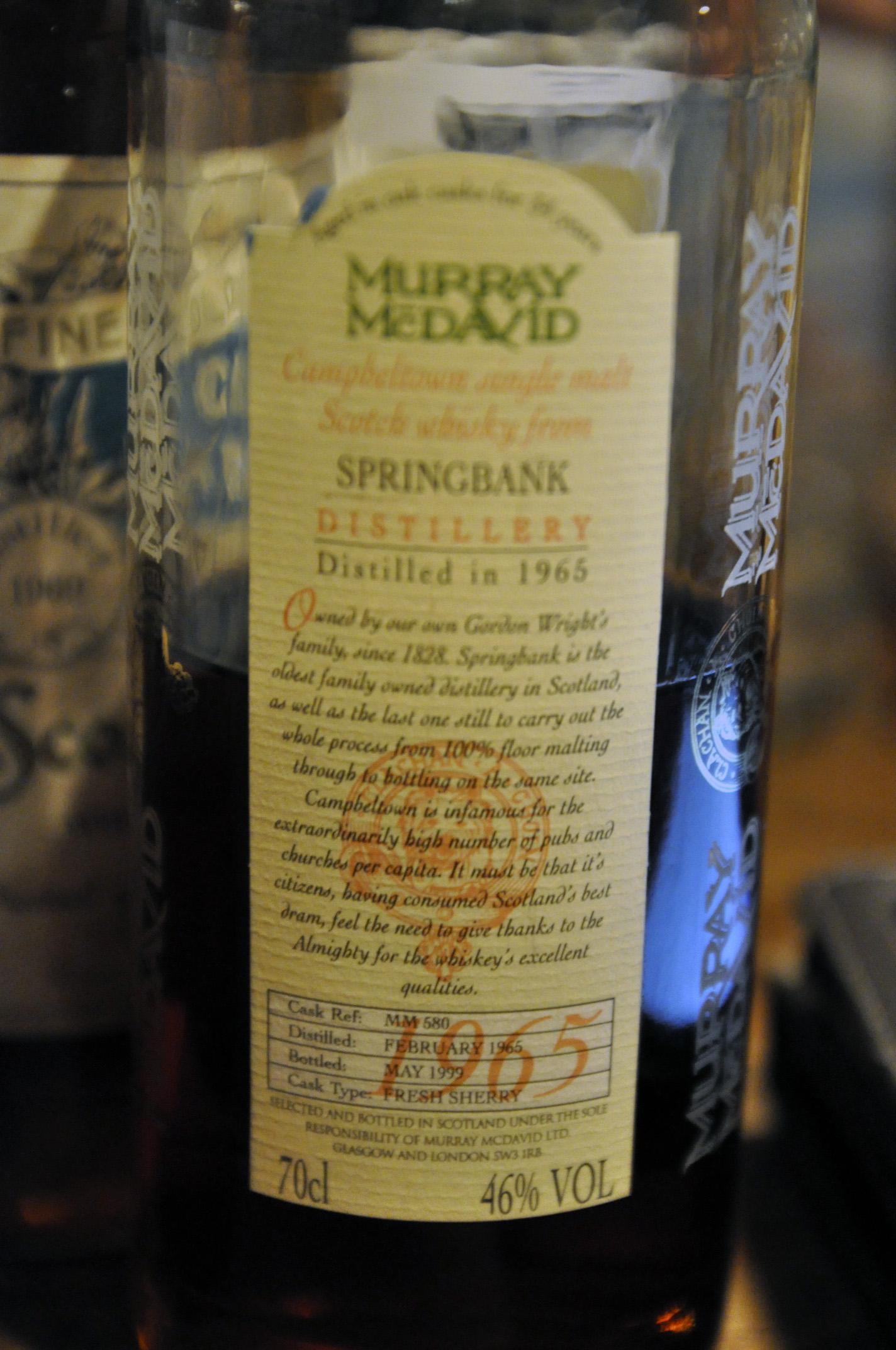 スプリングバンク Springbank 34yo 1965/1999 (46.0%, Murray McDavid, cask ref MM580. cask type  fresh sherry, 204bts)