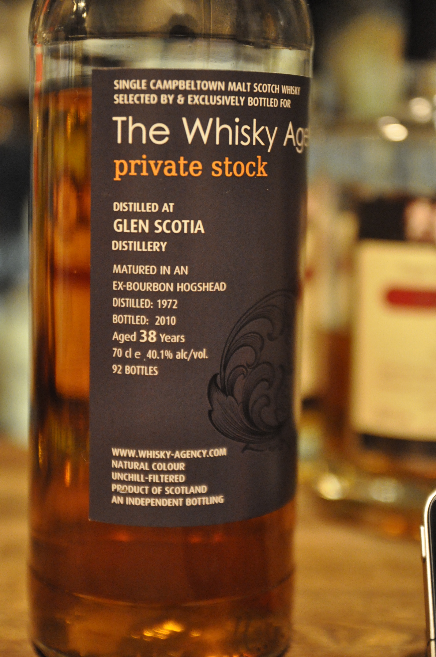 """グレンスコシア Glen Scotia 38yo 1972/2010 (40.1%, The Whisky Agency, """"Private Stock """", 92bts, Ex-Bourbon Hogshead)"""