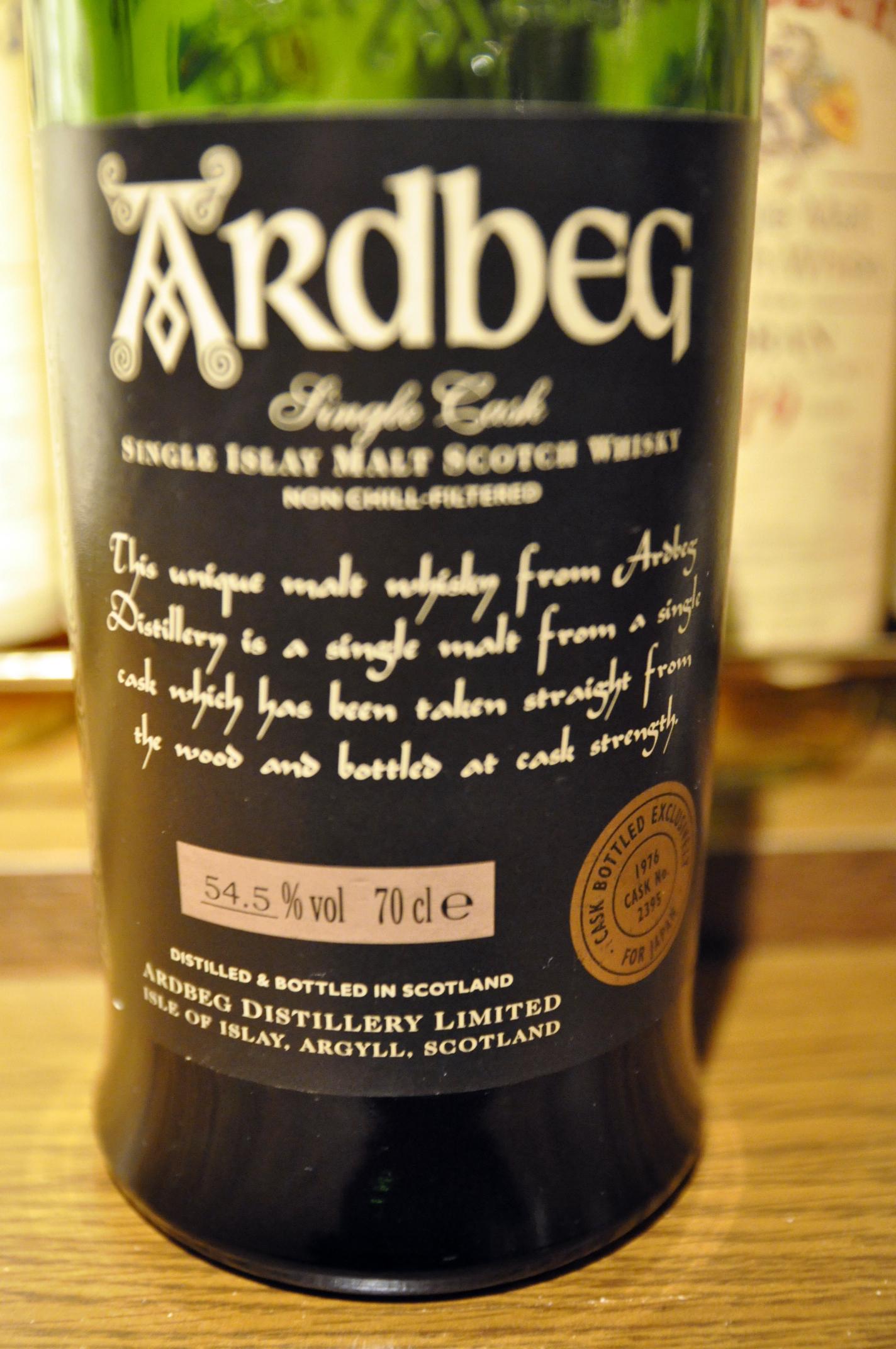 アードベッグ Ardbeg 1976/2002 (54.5%, OB, Sherry, C#2395, 468 Bts., D11/'76 B03/'02, Japan) 2002