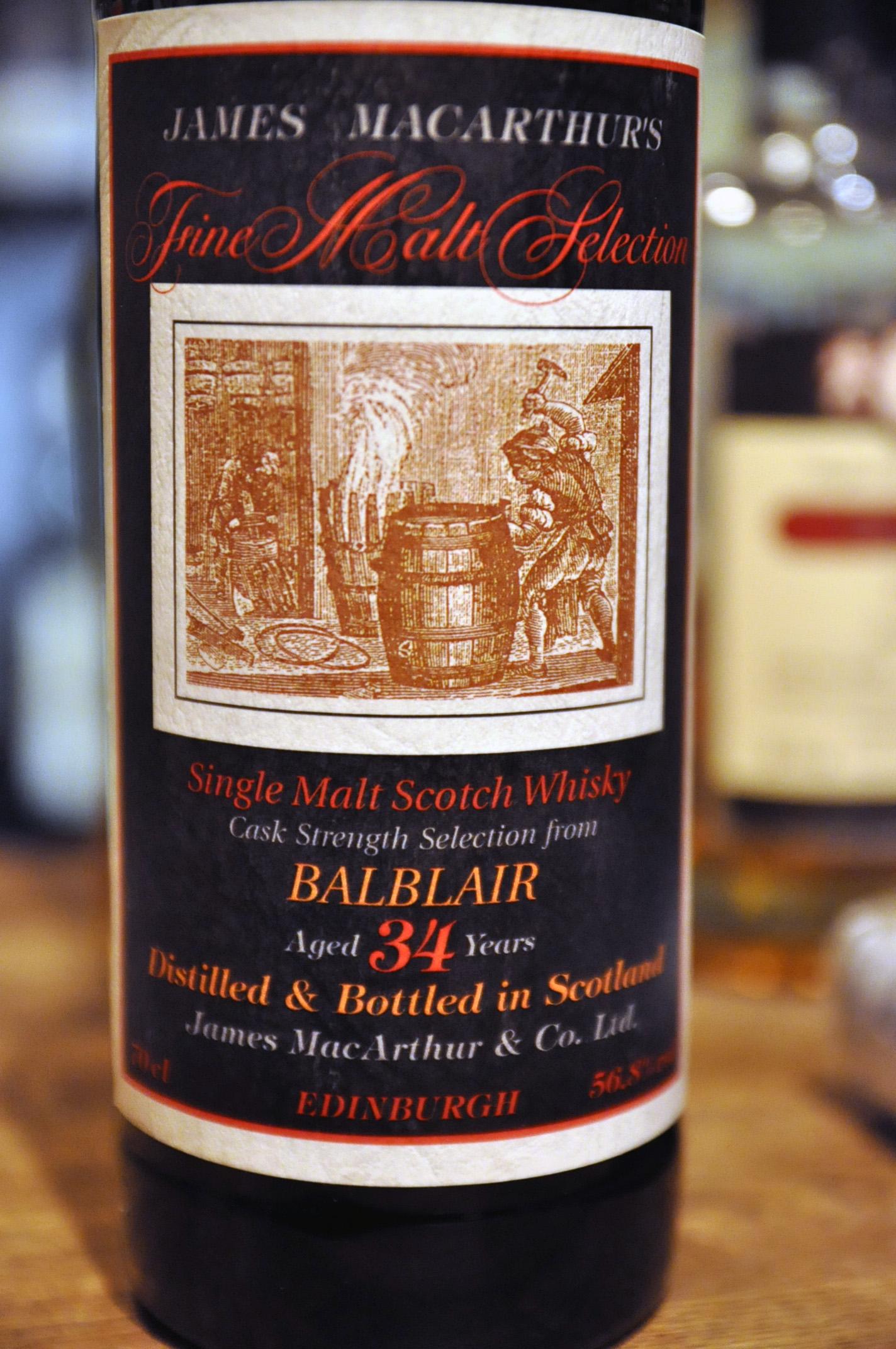 """バルブレア Balblair 34yo (56.8%, James MacArthur, """"Fine Malt Selection"""", cask strength)"""