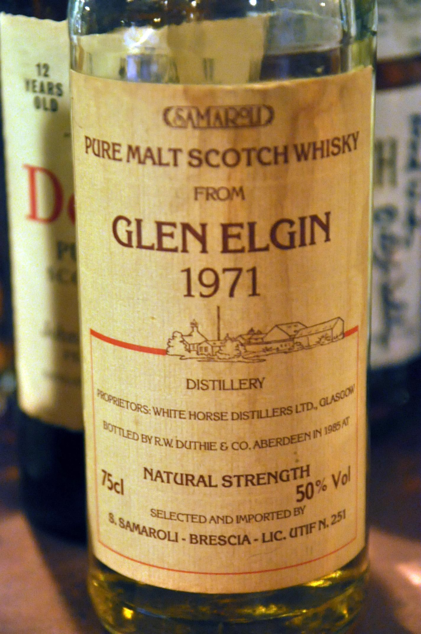 グレンエルギン Glen Elgin 1971/1985 (50%, Samaroli, White Label w. Distillery drawing, 1200bts, 75cl)