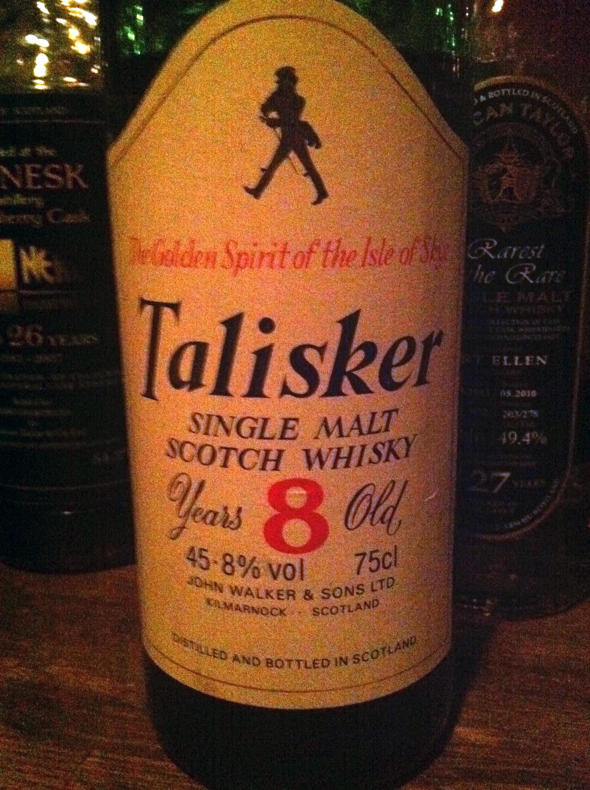 """タリスカー Talisker 8 yo (45.8%, OB, John Walker & Sons, """"The Golden Sprit of the Isle of Sky"""")"""