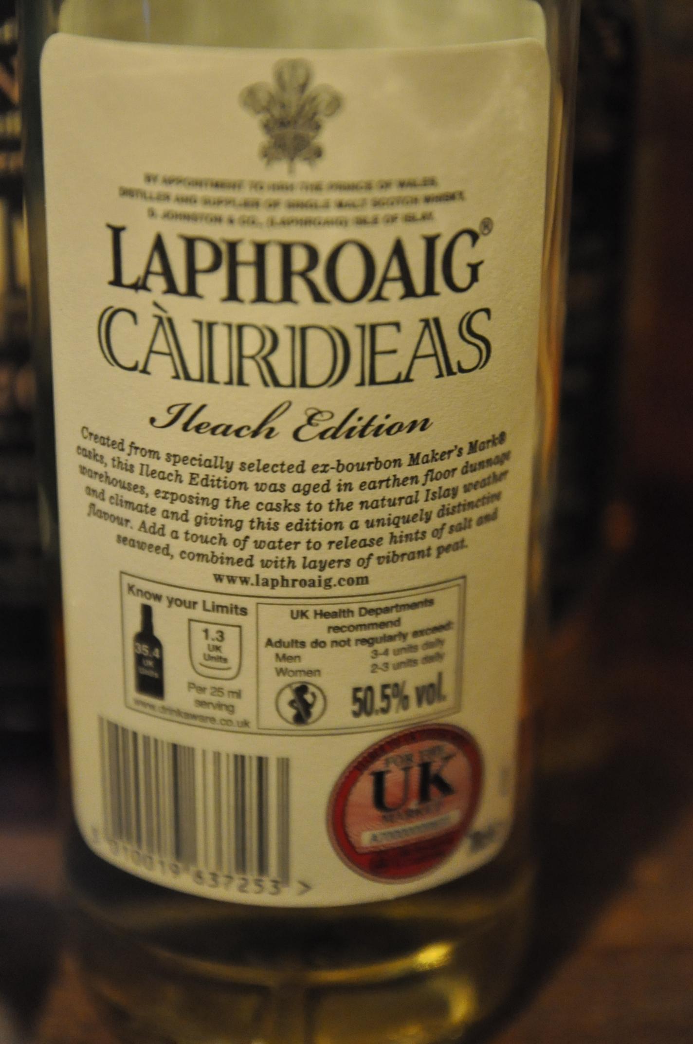 """ラフロイグ Laphroaig NAS 'Cairdeas' (50.5%, OB, 2011) Ireach Edition ex-Bourbon """"Makers Mark"""" Casks"""