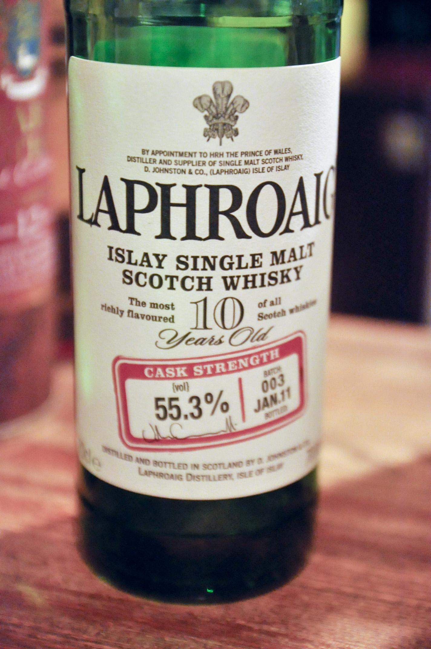 ラフロイグ Laphroaig 10yo Cask Strength (55.3%, OB, Batch003 JAN2011)