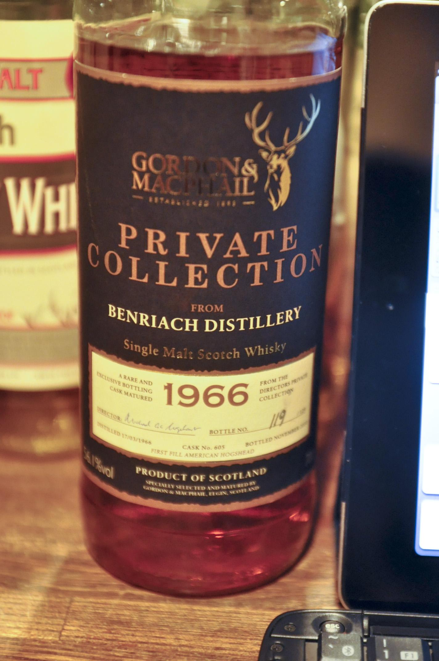 ベンリアック Benriach 1966/2010 (56.1%, Gordon & MacPhail, Private Collection, C#605, 119/129Btls)  1st fill American Hogshead表記