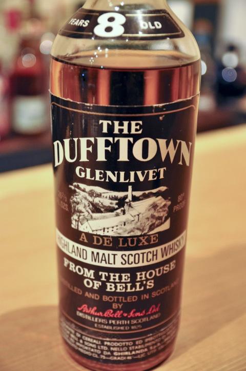 ダフタウン Dufftown-Glenlivet 8yo (80 Proof, OB Arthur Bell, Ghirlande Import, clear bottle/screw, early 1970's)