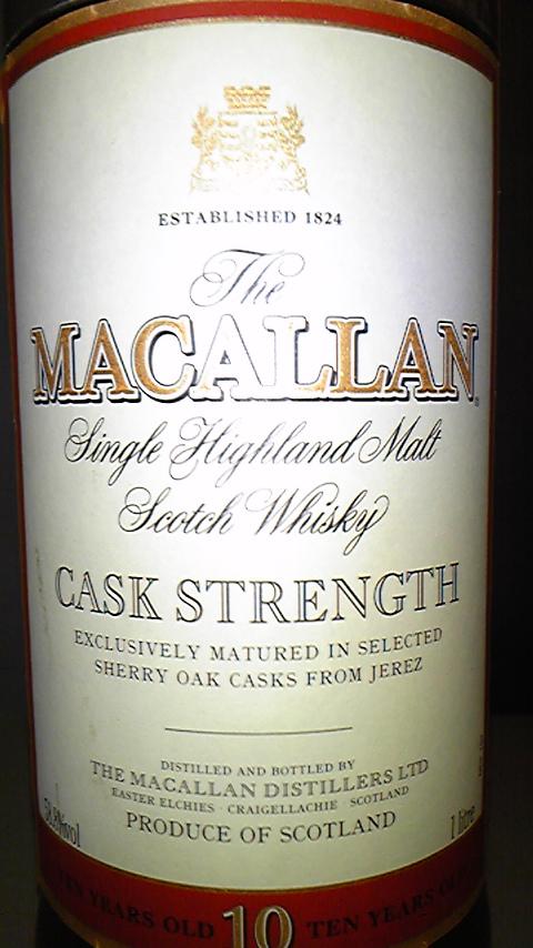 マッカラン Macallan 10yo 'Cask Strength' (58.8%, OB, 100cl) 1990's