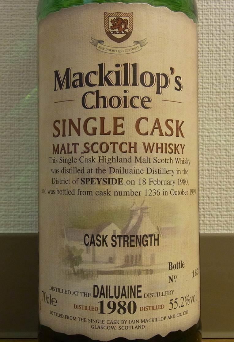 ダルユーイン DAILUAINE 1980-1999 Mackillop's Choice 55.2%