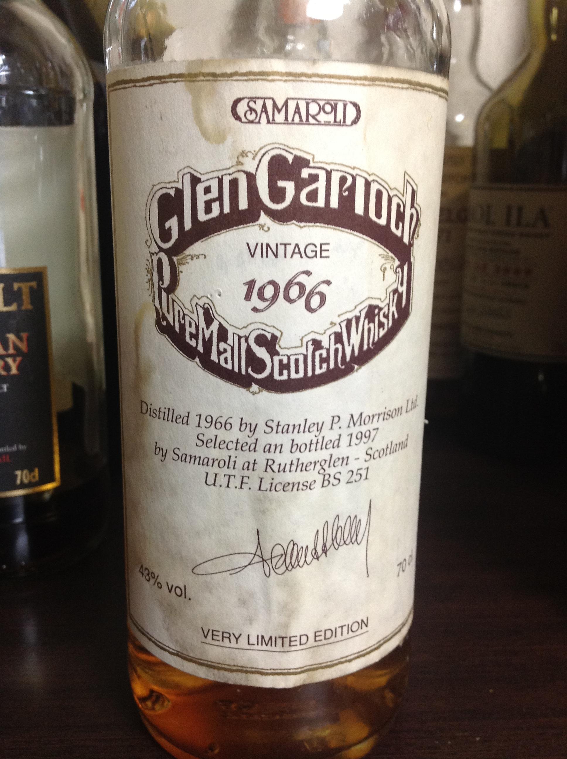 グレンギリー Glen Garioch 1966/1997 (43%, Samaroli, C#1309-1299, 696 Bts.)