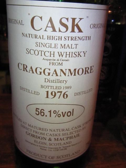 クラガンモア Cragganmore 1976/1989 (56.1%, G&M, Cask, white label)