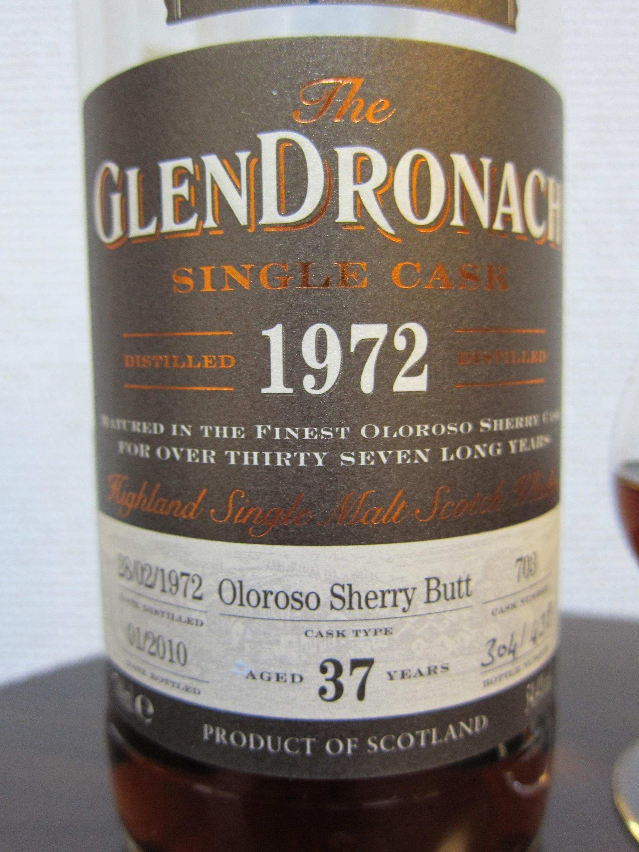 グレンドロナック GLENDRONACH 1972-2010 37yo(54.4%, Cask#703 Bottle#304 OB)