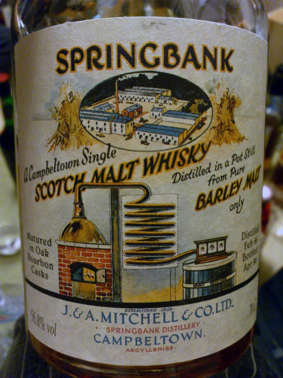 スプリングバンク Springbank 1966/1998 'Local Barley' (56.8%, OB, C#493)