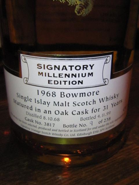ボウモア Bowmore 31yo 1968/1999 (43%, Signatory, Millenium Edition, C#3817, 238 Bts.) オークカスク
